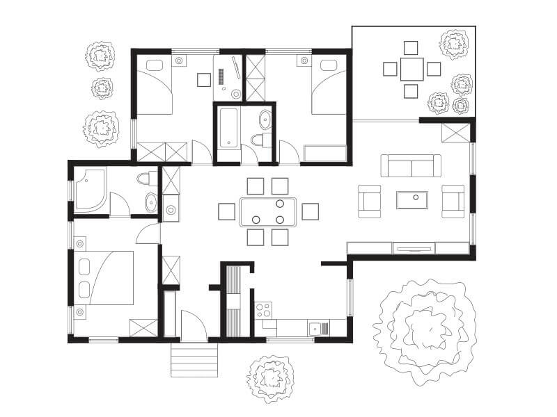Comparison of A virtual machine with sketch of house plan
